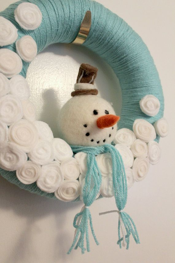 snowman wreath winter wreath yarn wreath 12 inch size