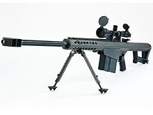 Barrett M107 .50 caliber anti-materiel/sniper rifle. The Barrett came to the US military in 1980 as a bolt action weapon but quickly morphed into a semi-auto all purpose system. It is accurate to 1.1 miles and has 3 different rounds, a solid round for killing people, an explosive round called Raufoss & Mod 0 that is explosive and incendiary. It can be take down helicopters, cars, trucks, buildings & lightly armored combat vehicles. It's made of titanium, can be silenced & has almost no recoil.