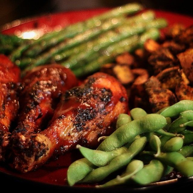 Spicy BBQ chicken w/ roasted sweet potatoes, sautéed asparagus ...