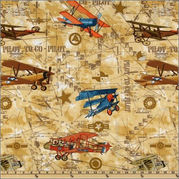 Vintage airplane fabric hank pinterest for Childrens airplane fabric
