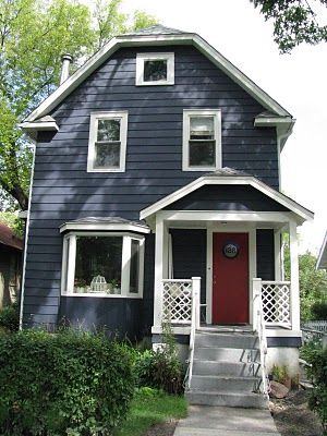 Dark blue house, white trim, red door | house exterior | Pinterest