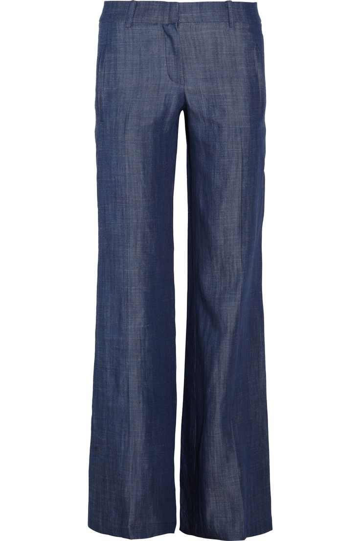 Low rise chambray wide leg jeans for Chambray jeans