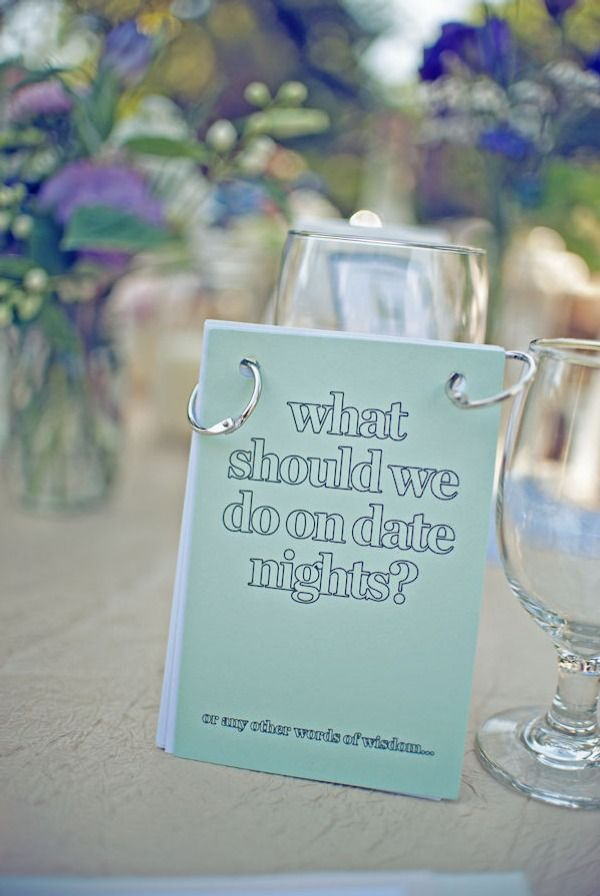 Different question for each table at a wedding reception. Cute!