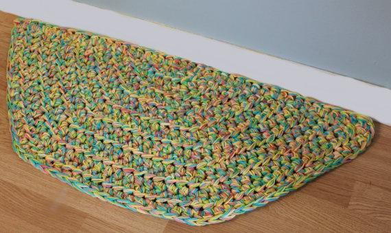 Crocheted Rug Modern Cotton Kitchen Or Bathroom Rug Half Circle Rug