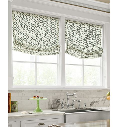 Relaxed roman shade window treatments pinterest for Pictures of roman shades on windows
