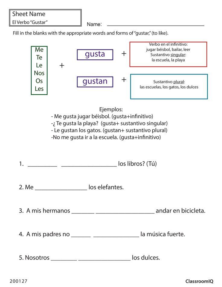Gustar (to like) #spanishworksheet #newteachers #printable ...