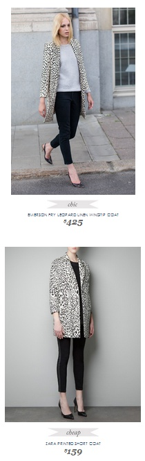 Copy Cat Chic Fashion Finds | EMERSON FRY LEOPARD LINEN WINGTIP COAT vs ZARA PRINTED SHORT COAT