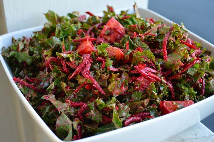Kale Beet Orange Salad with Green Garlic Dressing