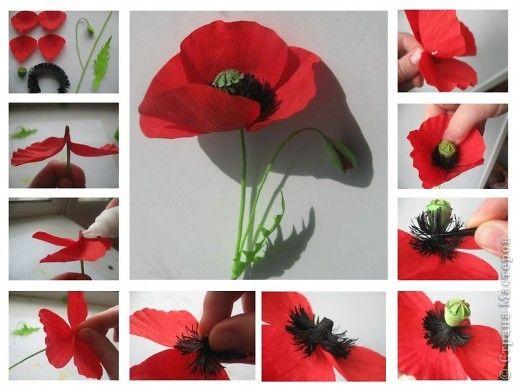 Как самой сделать цветки мака