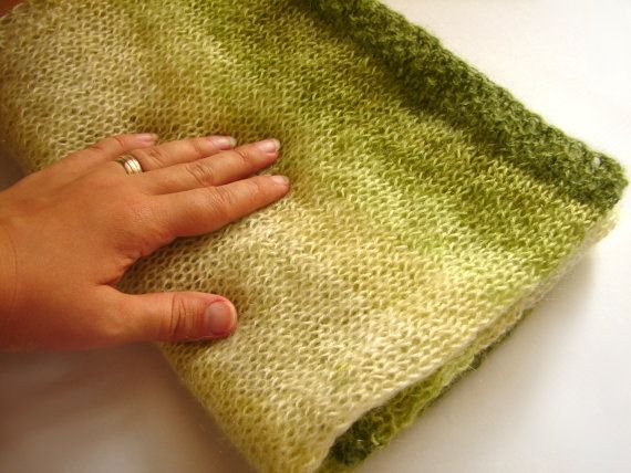 Knitting Pattern For Mohair Blanket : Baby blanket soft mohair knitted blanket in green by ...