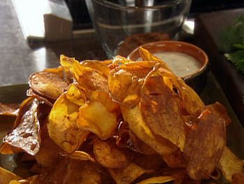 Chili Dusted Sweet Potato Chips with Blue Cheese and Chive Dip
