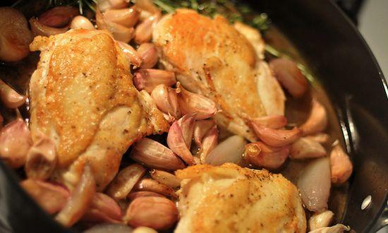 Quick 40 cloves of garlic chicken using chicken breasts. Broil garlic ...