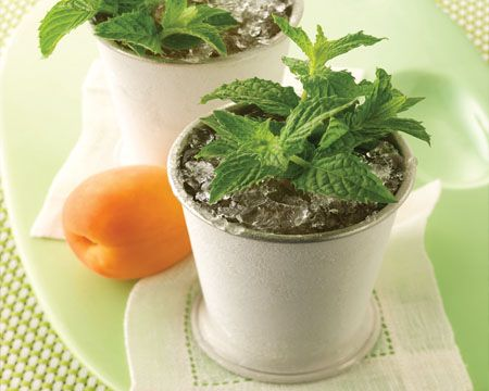 Apricot Julep Recipe. This sounds so good right now! #drink #cocktail
