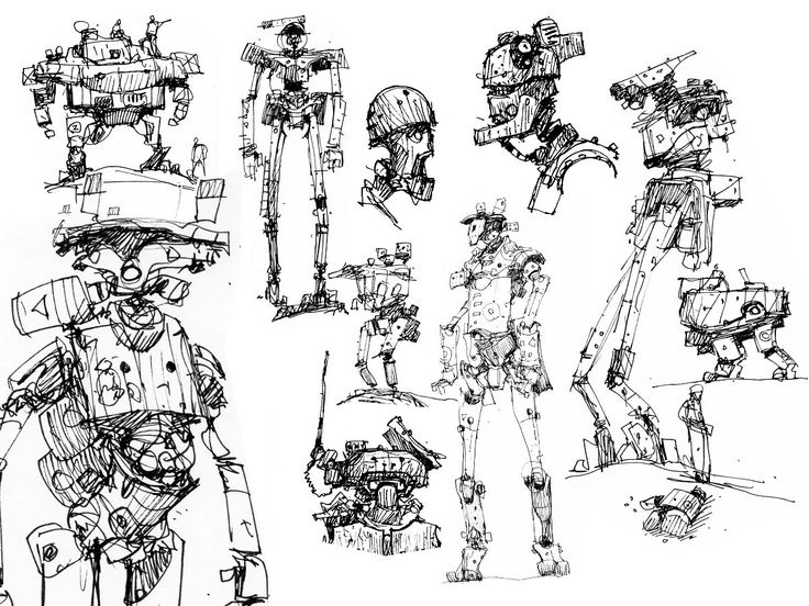 Character Concept Art From Initial Sketch To Final Design : Robot sketches game design inspiration pinterest