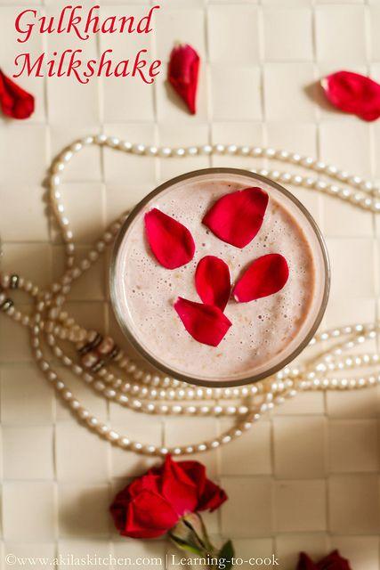 Gulkand milkshake - Rose Petal Jam milkshake - Indian Rose Petals ...