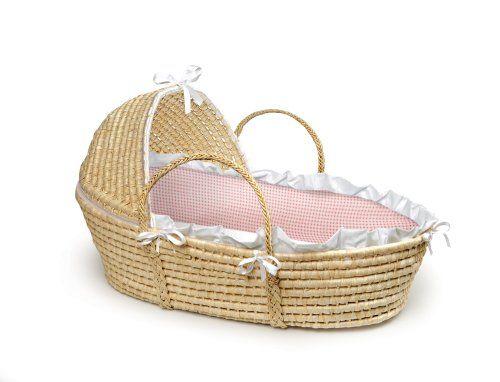 Badger basket company natural baby moses basket with hood pink