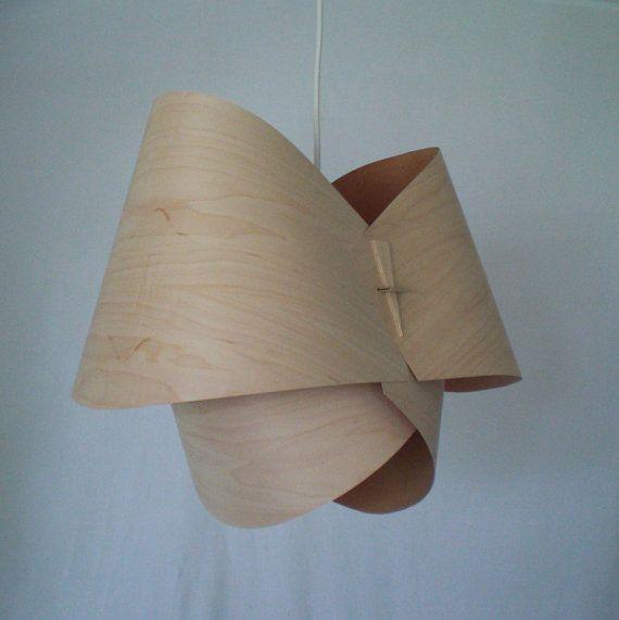 Modern Hanging Wood Veneer Pendant Lamp Shade Handmade