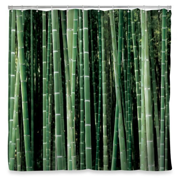 KIKKERLAND green BAMBOO forest SHOWER CURTAIN 100% polyester