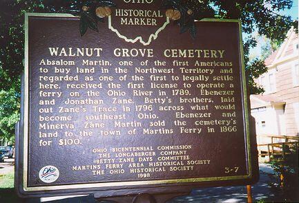biz walnut grove pioneer cemetery martins ferry