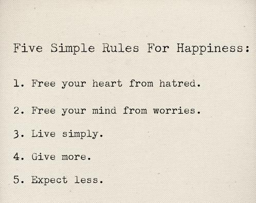 Five simple rules for happiness...