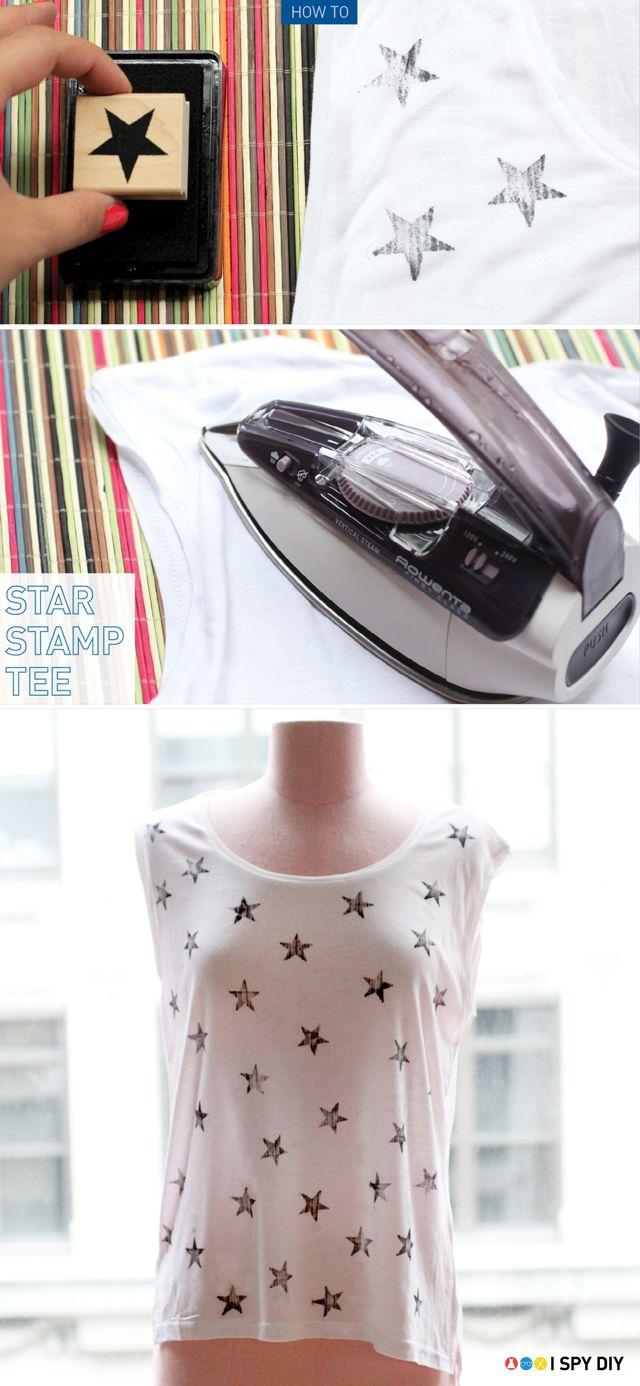 DIY: star stamped t-shirt