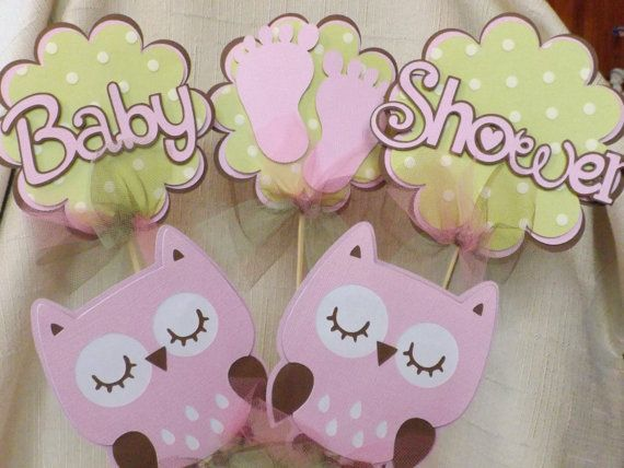 baby shower pink owl table decorations 5 piece set matches girl pink