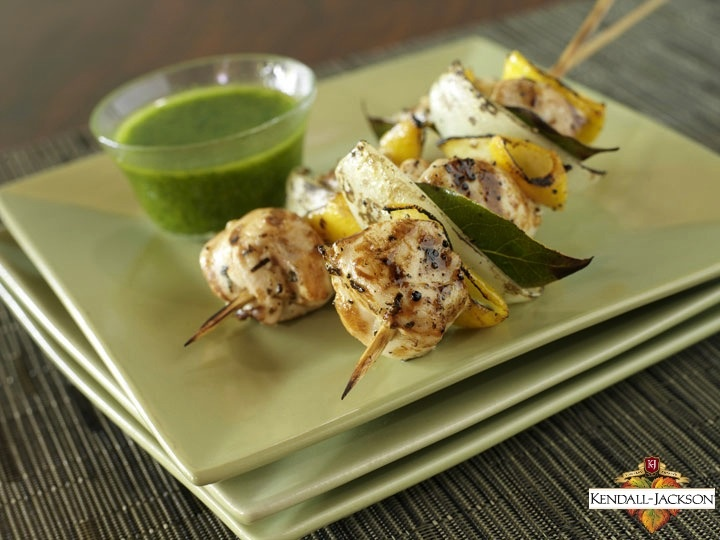 Lemon Chicken Kebabs with Moroccan Herb Sauce. #recipes