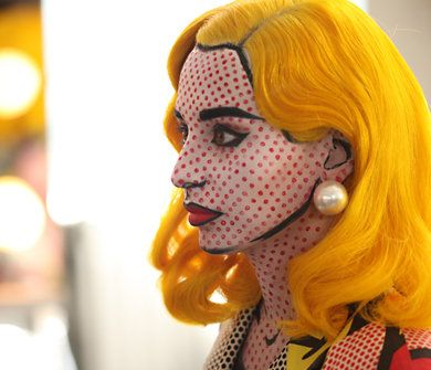 roy lichtenstein-style, ben day dot comic book character make-up & costume
