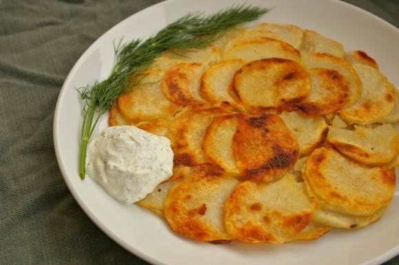 Skillet Potato Cake with Dill Sour Cream   Recipe