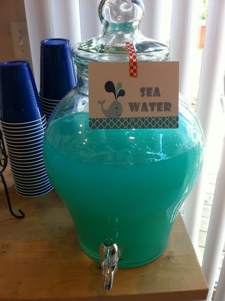 water blue hawaiian punch and lemonade under the sea baby shower