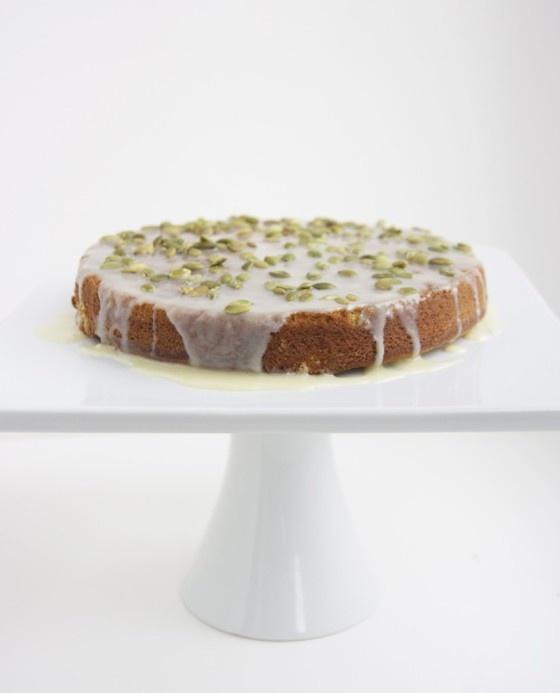 Spiced Pumpkin Cake with White #Chocolate and Toasted Pepita Glaze