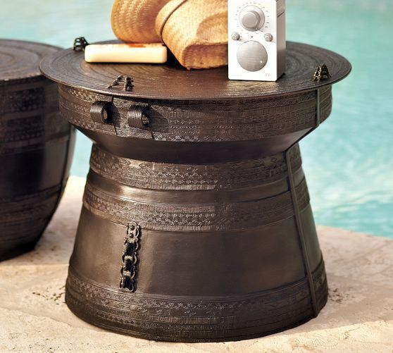 Frog Rain Drum Accent Side Table
