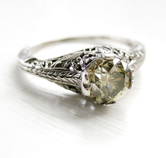 Vintage Filigree Art Nouveau Diamond Engagement Solitaire Ring 14kt W…