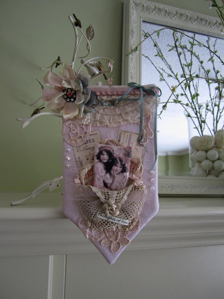 Wall Decor Shabby Chic : Pink victorian style wall hanging shabby chic decor