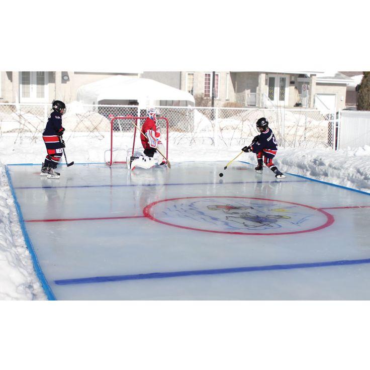 Backyard Rink Kit : The Personalized Backyard Ice Rink  Hammacher Schlemmer  This kit