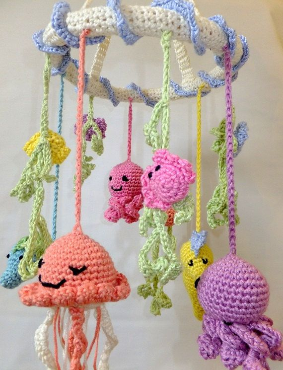 Crochet Baby Mobile Patterns : Under the Sea Crochet Cot Mobile for Baby