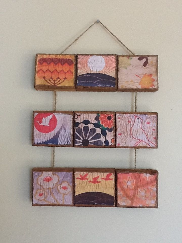 Decoupaged pallet wood blocks | My work | Pinterest
