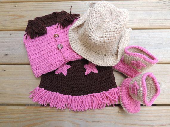 Crochet Baby Cowboy Chaps Pattern : Crochet Baby Cowboy/Cowgirl Set (hat, boots, vest, skirt ...