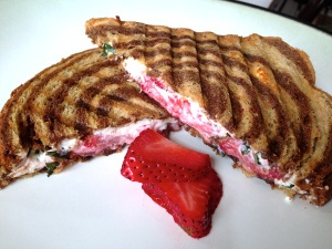 Strawberry Basil Goat Cheese Panini with Balsamic Glaze