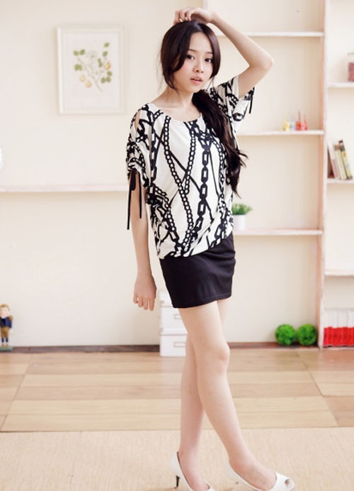 Ladies Hollow Out Bag Hip Short Sleeve Dresses White