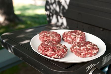 venison burgers with mushrooms - throw in some bacon...fantastic!