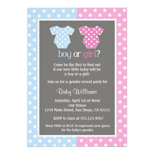 Gender Reveal Party Baby Shower Invitations.  $1.90
