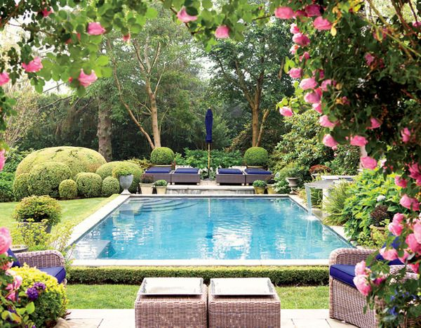 Beautiful pool and garden garden charm pinterest for Garden and pool