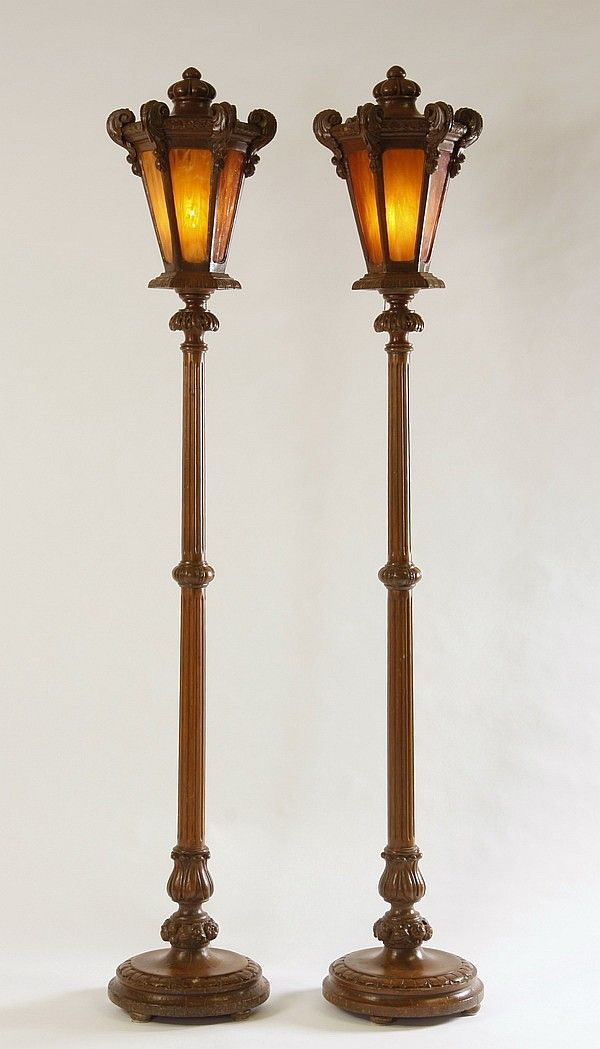 century carved and stained maple floor lamps formed as street lights. Black Bedroom Furniture Sets. Home Design Ideas