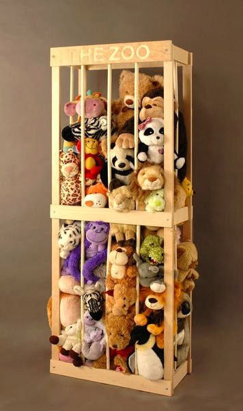 storage ideas - stuffed animal zoo.  This cracks me up for some reason.
