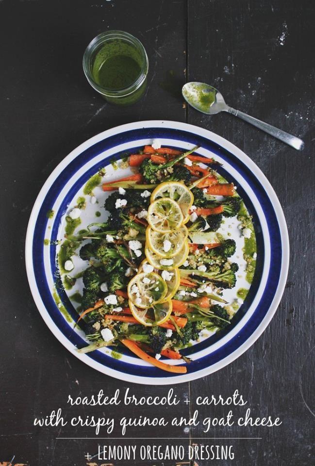 ... broccoli-carrots-with-crispy-quinoa-goat-cheese-lemony-oregano