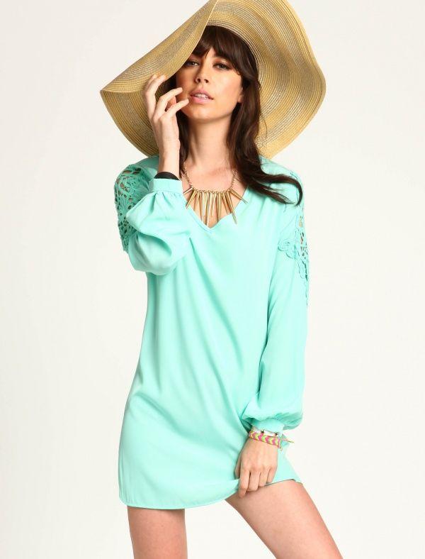 Women's #Fashion #Clothing: #Dresses: Mint #Green Crochet Shoulders