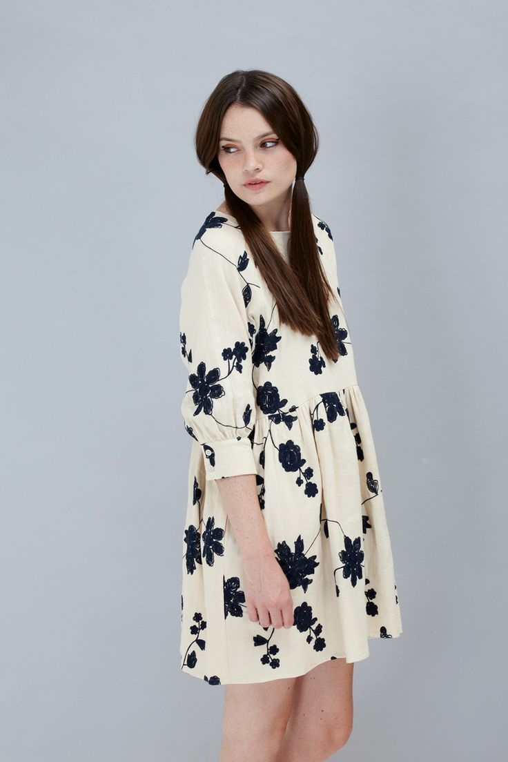 Embroidered Angel Dress Cream by THE WHITEPEPPER http://www.thewhitepepper.com/collections/dresses/products/embroidered-button-cuff-angel-dress-cream #thewhitepepper #angeldress #cream #fashion #winter #floral #embroidery