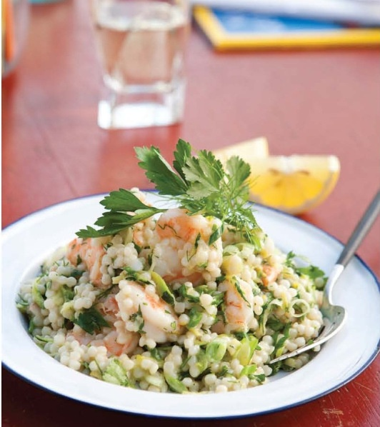 Israeli Couscous with Shrimp and Zucchini