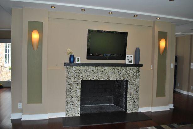 Glass Tile Fireplace Fireplace Pinterest